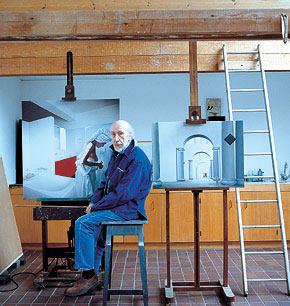 artist Richard Hamilton in his Oxfordshire studio (2003), with his paintings (right) The Sainsbury Wing, 1999-2000 and Bathroom fig 2.1, 1999-2000.